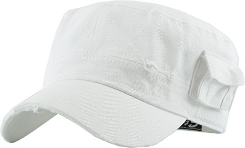 KBETHOS Cadet Army Cap Basic Everyday Military Style Hat (Small, (Distressed Pockets) White) ()
