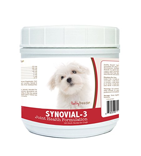 Healthy Breeds Synovial 3 Dog Hip and Joint Support Soft Chew for Maltese – Over 80 Breeds – Glucosamine, MSM, and Vitamins Supplement – Cartilage Care – 120, 240 Ct by Healthy Breeds