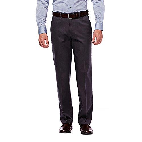 Haggar Men's Classic Fit Flat-Front Hidden Expandable Waistband Premium No Iron Khaki, 36W x 31L - Dark Navy