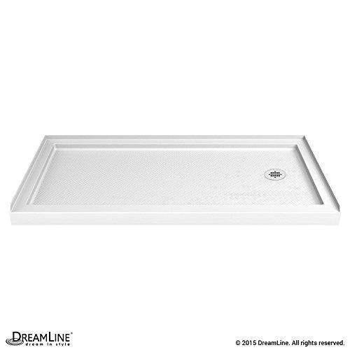 DreamLine SlimLine 30 in. D x 60 in. W x 2 3/4 in. H Right Drain Single Threshold Shower Base in White