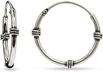 LeCalla Sterling Silver Jewelry Oxidized Balinese Endless Lock Wear Hoop Earring for Kids
