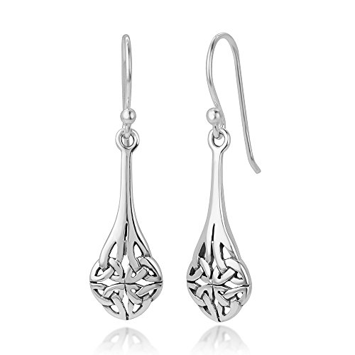 925 Oxidized Sterling Silver Bali Inspired Celtic Knot Long Teardrop Dangle Hook Earrings 1.4