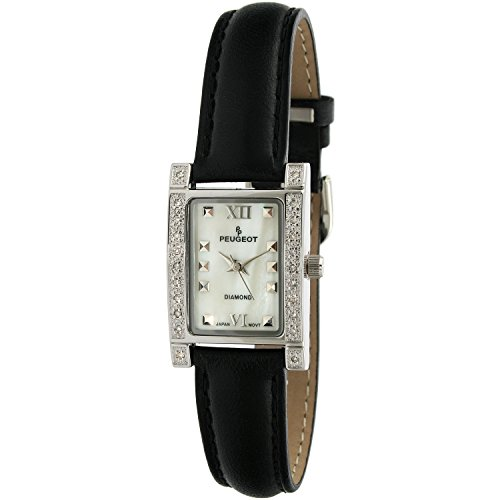 Peugeot Womens Genuine Diamond (.10c) Bezel Watch with a Black Genuine Leather Strap