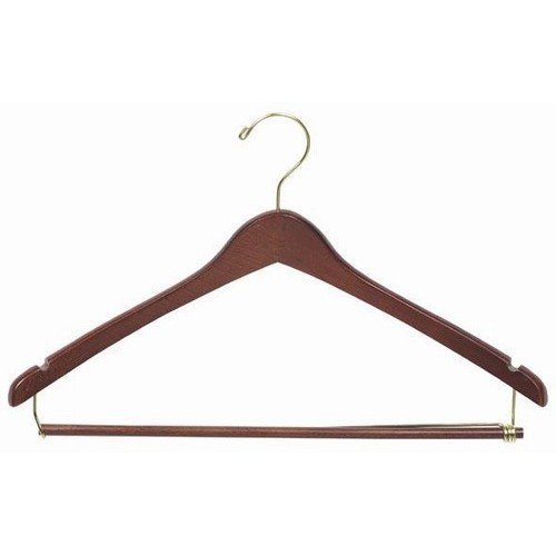 Only Hangers Wooden Suit Hangers with Locking Pant Bar, Walnut/Brass Finish, Box of 100, 50, and 25 (100) by Only Hangers
