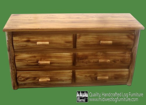 Midwest Log Furniture - Torched Cedar Log Dresser - 6 Drawer
