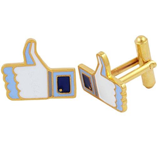 Designer Gold Plated Cufflinks - Fadkart Luxury Designer Gold Plated Facebook Thumbs Up Cufflinks Wedding Party Casual Wear Cuff Links for Men (Gold)