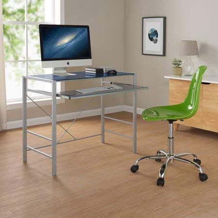 Mainstays Stylish Glass-top Desk Brings Organization to Your Work or Study Area, Baltic Sea + Cleaning Cloth