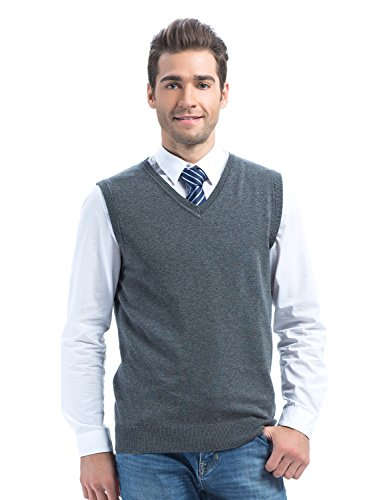 Choies Men's Dark Gray Sweater Vest Knit Acylic Winter V Neck Vest M
