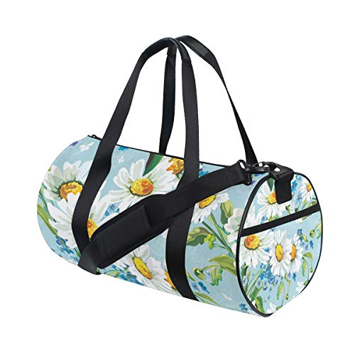 Vintage Canvas Football Daisy (Vintage Daisy Flower Art Pattern Travel Duffel Bag Sports Gym Duffel Bag Luggage Handbag for Men Women)