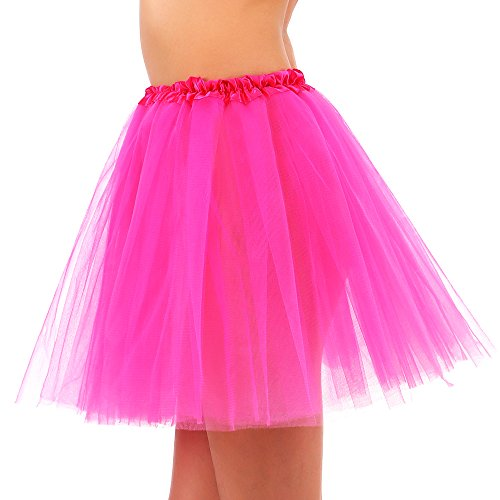 Women's 3 Layered Tulle Ballerina Running Tutu Mini Party Skirt - (Rose Pink Layered)