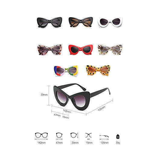 Round Inlefen Oversized Eyewear Bold Eye Gafas de Brillante Womens Retro Cat sol Gris Negro Rim Cateye 8wrIq84fn
