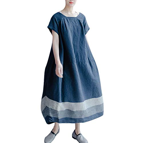 iHPH7 T Shirt Dresses Summer Casual Short Sleeve Swing Dress with Pockets Plus Size Crew Neck Striped Baggy Long Dress Women (4XL,Navy)