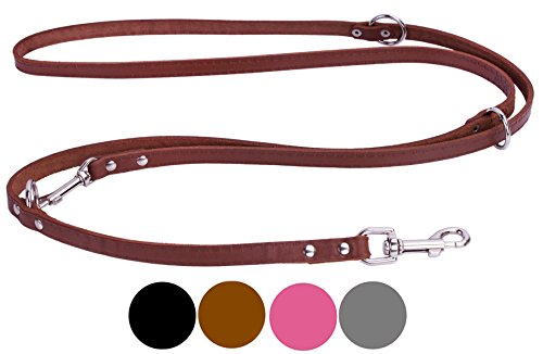 CollarDirect Leather Dog Leash Adjustable Length 4ft 5 ft 6ft, Multi Functional Training Dog Lead Leather Leash 4 5 6 feet Puppy Black Brown Pink Grey (Brown) - Traditional 4' Handle Pull