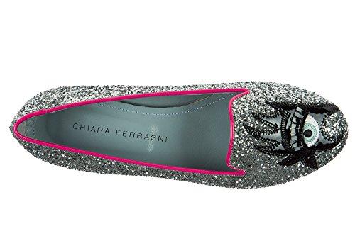 Chiara Ferragni ballerine donna originale glitter argento