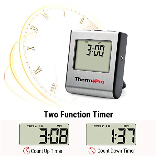 ThermoPro TP16 Large LCD Digital Cooking Food Meat Thermometer for Smoker Oven Kitchen Candy BBQ Grill Thermometer Clock Timer with Stainless Steel Temperature Probe Standard Silver