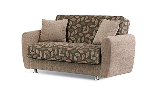 BEYAN Chestnut 2016 Collection Living Room Convertible Storage Loveseat with Storage Space, Includes 2 Pillows, Dark Brown ()