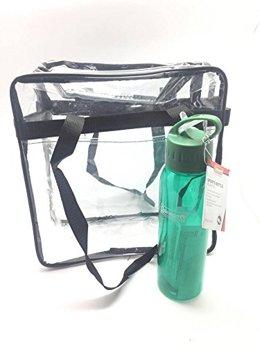 Clear Tote Bag Stadium Reusable with Front Pocket plus One Plastic Sport Bottle Colors, Ideal for NFL, Diversion Parks, Concerts,Gyms, Indoor and Outdoor Sports, Approved Security Check - From Sunglasses Casino