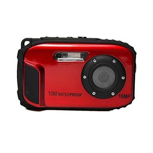 Fitiger Underwater 10m Waterproof Camera 2.7inch LCD 16MP Digital Camera 8x Zoom Compatible with Windows Vista/XP/7 System-Red