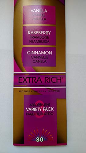 Gonesh Incense Sticks Vanilla, Raspberry, Cinnamon Variety Pack 3 -- Packs of 30 Sticks
