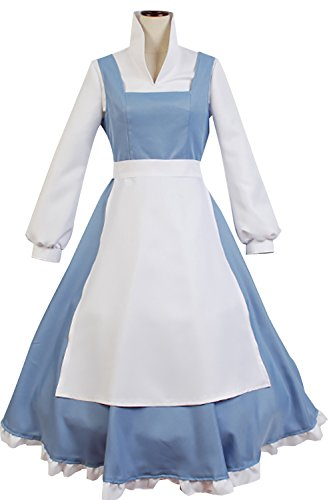 [Sidnor Beauty And The Beast Cosplay Costume Princess Belle Outfit Maid Dress Suit Ball Gowns (Large)] (Belle Halloween Costumes For Adults)