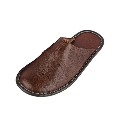 Haisum 8808-m - Zapatillas de estar por casa de piel vacuna para hombre marrón oscuro