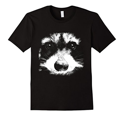 Mens Raccoon Face Animal Black T-Shirt Medium Black