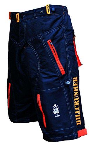 Astek Men's Orange Black MTB BMX Baggy Padded Mountain Bike Shorts (Medium) from Astek