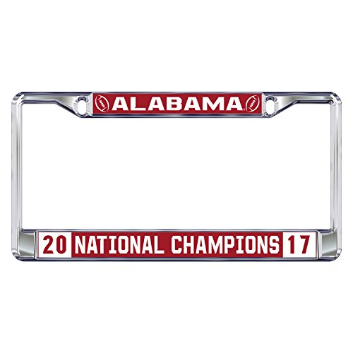 2017 National Champion Domed Mirrored License Plate Frame University of Alabama Crimson Tide