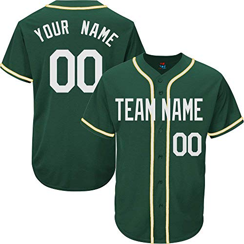 Hunter Green Custom Baseball Jersey for Men Women Youth Full Button Embroidered Team Name & Numbers S-5XL White ()