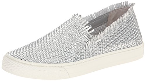 LOEFFLER RANDALL Women's Mazzy (woven Mirror Leather) Fashion Sneaker, Silver, 7 M US