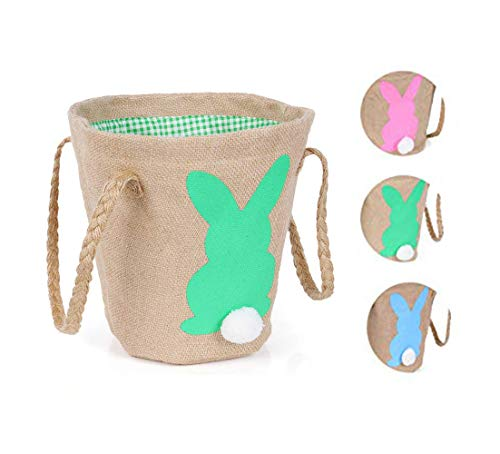 Easter Egg Basket Bunny Burlap Bag Easter Presents for Kids to Carry Eggs Candy and Gifts for Festival Party]()