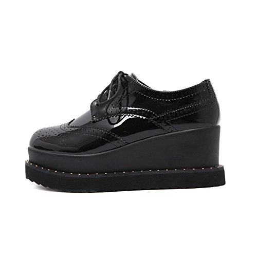 CYBLING Fashion Mid Heel Thick Sole Platform Lace Up Round Toe Oxford Shoes For Women Black nQNlLe