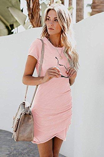 Short Hem ALBIZIA Irregular Neck Round Bodycon pink Dress Mini Sleeve Ruched Women's 1 YxwtqwCg