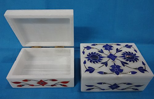 Marble Trinket Box Malachite Mother Pearl Inlay Floral Vintage Marquetry 6X4 -