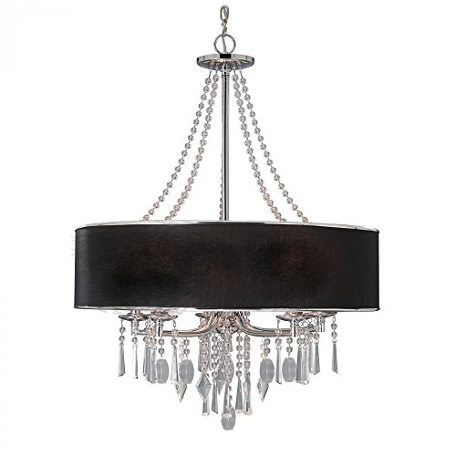 Golden Lighting 89815GRM  Chandelier with Crystal And Black Tuxedo Shades,  Chrome ()