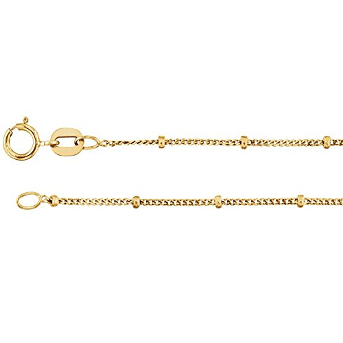 Beaded Curb Chain - Bonyak Jewelry 14k Yellow Gold 1mm Solid Beaded Curb 18