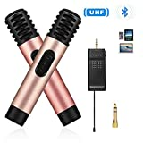 Bluetooth Wireless Microphone Karaoke, Cookan 2 Pack Professional Handheld Mic System with Mini Portable UHF Receiver 1/4'' Output For Singing/PC/iphone/Speech/Home Party/Church