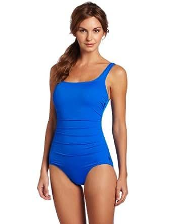 Reebok Women's Must Have Shirred Solids Swimwear, Blue, 10