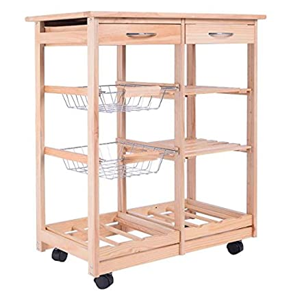 Amazon.com - Cypressshop Wood Kitchen Trolley Rolling Cart Dining ...