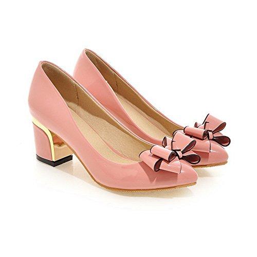 AgooLar Damen PU Mittler Absatz Spitz Zehe Rein Ziehen auf Pumps Schuhe Pink