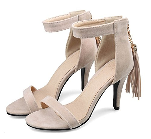 Aisun Womens Elegant Fringed Open Toe Dress Stiletto High Heels Zip Up Sandals Shoes With Ankle Straps Apricot a2iyep4CX1