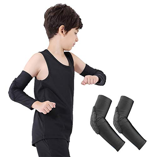 Luwint Children Volleyball Arm Pads - Boys & Girls Compression Armour Protective Elbow Guard for Football Basketball Baseball Bowling Tennis Hockey Sports, 1 Pair (Large) for $<!--$16.99-->