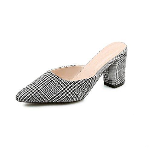 Les paresseuses Mid Bruts Toe Orteil JRenok Chaussures Closed Treillis Sandales Femmes sur Fashion Noir Slide Slip Pointu wOSUTZq