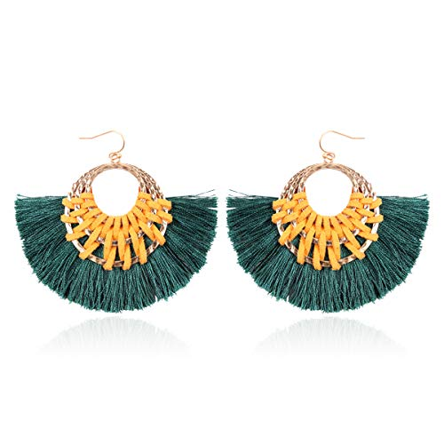 RIAH FASHION Bohemian Silky Thread Fan Tassel Statement Drop - Vintage Gold Feather Shape Strand Fringe Lightweight Hook/Acetate Dangles Earrings/Long Chain Necklace (Suede Woven - Teal)
