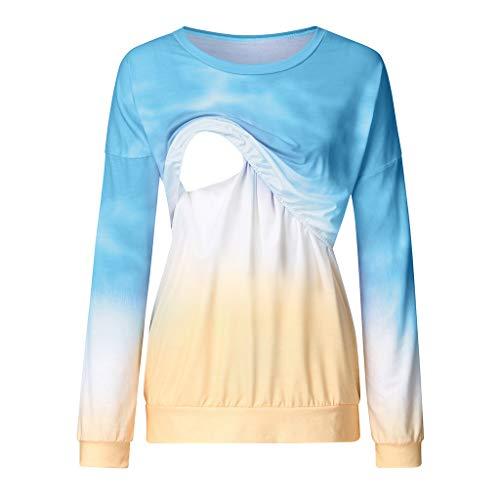 Maternity Nursing Top Shirt,Crytech Fashion Pregnancy Gradient Color Long Sleeve Double Layer Pullover Sweatshirt for Breastfeeding Pregnant Women Trendy Casual Tee Tshirt (Medium, Blue)