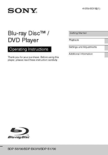 Price comparison product image Sony BDP-S1700 Blu-ray Player Owners Manual