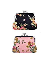 """Oyachic 2 Packs Coin Pouch Canvas Double Coin Purse Rose Pattern Clasp Closure Wallet Gift 4.7""""L X 3.5""""H (Black and Pink)"""