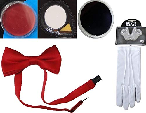 Rimi Hanger Adults Red White Black Face Paint Red Bow Tie White Gloves Clown Party Accessory 5 Pcs Set One -