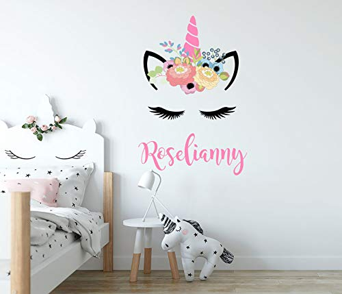 675ParkerRob Girls Name Unicorn Stickers Personalized Wall Decal Full Color Unicorn Wall Mural Unicorn Gift Unicorn Wall Art Unicorn Decor