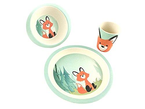 Renard Coffret vaisselle en Bambou 3 pi/èces